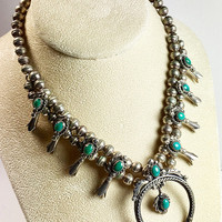 Sterling Silver and Turquoise Native American Squash Blossom Necklace and Extension Designer Signed
