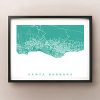 Santa Barbara Area Map - California Poster Print