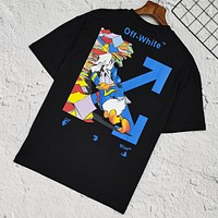 Off White Summer New Fashion Letter Arrow Women Men Top T-Shirt Black