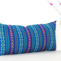 Colorful pillow cover, Teal blue Mexican Pillow, pillow case aztec boho, Fiesta decoration,