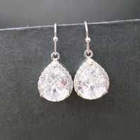 Sparkling, Cubic, Earrings, Bridesmaid, Earrings, Dangle, Drop, Silver, Earrings, Hook, Earrings, Cubic, Zirconia, Simple, Earrings