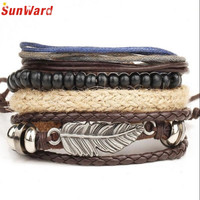 New Men's Braided Leather Stainless Steel Cuff Charm Bracelet Fashion Delicate
