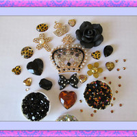 DIY 3d alloy rhinestone pearls bling gold and black crown kawaii decoden kit cabochon cell phone deco kit
