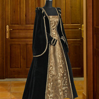 Renaissance Dress Handmade from Velvet and Brocade, Multiple Colors Available