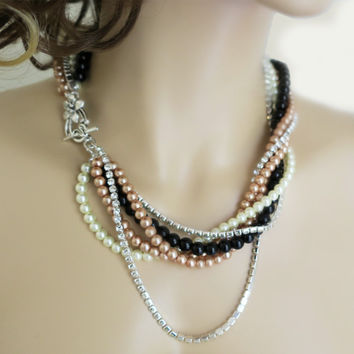 Black and Gold Statement Necklace, Pearl and Rhinestone Necklace | LaLaMooD