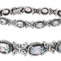 Sterling Silver and Oval-Cut Blue Topaz Vintage Inspired Butterfly Bracelet: Jewelry: Amazon.com