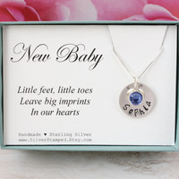 Birthstone necklace sterling silver baby name necklace gift for new mom personalized gift for baby shower mommy jewelry new baby gift