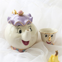 Hot Sale Cartoon Beauty And The Beast Teapot Mug Mrs Potts Chip Tea Pot Cup [ Optional Purchase] Lovely Xmas Gift