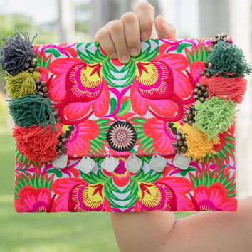 Pom Poms Handmade Ipad Cover Bag with Tribal Embroidered