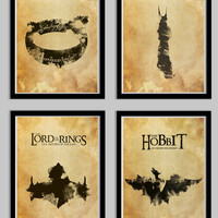 The Lord of the Rings Poster Set FOUR Posters including Hobbit
