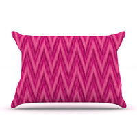 "Amanda Lane ""Berry Pink Chevron"" Magenta Purple Pillow Case"