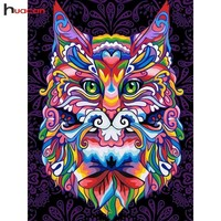 5D Diamond Painting Colorful Abstract Cat Kit