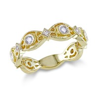 Scalloped Diamond Gold Fashion Ring 1/4ctw - Size 9