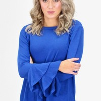 Tiered Ruffle Sleeves Fleece Sweater {Royal Blue}