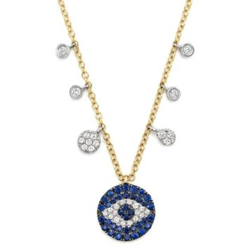 """Meira T Sapphire and Diamond Evil Eye Necklace in 14K Yellow Gold, 16"""" 