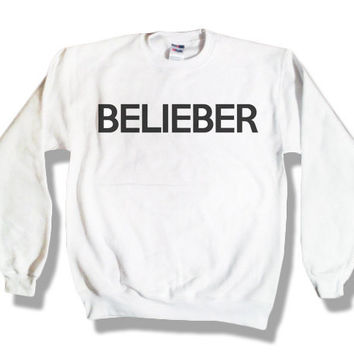 """Holiday Sale - """"Belieber"""" - Justin Bieber White Sweatshirt x Crewneck x Jumper x Sweater - All Sizes Available"""