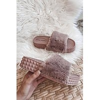 DIRTY LAUNDRY Sonny Fur Blush Slides