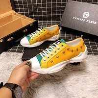 Philipp Plein Yellow Men Fashion Casual Sneakers Sport Shoes