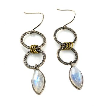 Moonstone Two Tone Sterling Silver Circles Earrings