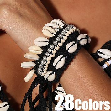 Cowrie Shell Choker Crochet 28 Colors You Choose With Beads & Sea Shells Wear As Ankle Cuff Or Bracelet Statement Piece Great With Bikinis!