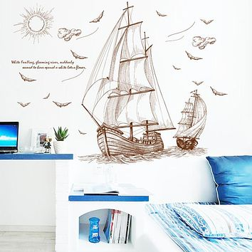 Wall Sticker Sketch Boat Stickers On The Wall Wall