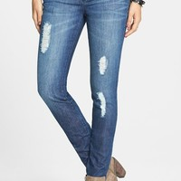 THIS CITY Destroyed Skinny Jeans (Dark) (Juniors)