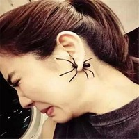 DoreenBeads 1 PC Punk Black Spider Earrings Halloween 3D Animal Stud Earrings European Vintage Fashion Jewelry Ear cuff Earrings