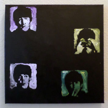 The Beatles Hard Days Night - Small Unique Acrylic Painting on Canvas - Small Popart Painting - Hand Painted - Fun Accent