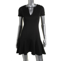 Black Halo Womens Knit V-Neck Cocktail Dress