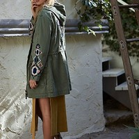 Free People Womens Embroidered Twill Parka