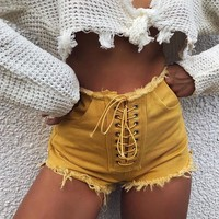 Hot Shorts CWLSP 2018 Solid Yellow Cotton Jeans  For Women Summer Sexy Lace Up Denim Tassel Hot  With Pocket QZ2788AT_43_3
