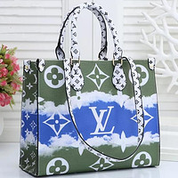 Louis Vuitton LV 2020 summer gradual tie dye printing big print hand bag Green