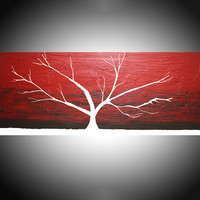 "ARTFINDER: Red Sky at Night tree of life painting in acrylic wall art color rainbow tree in wood  3 panel wall abstract canvas abstraction 48 x 20 "" by Stuart Wright - Red Sky at Night , crimson red impasto painting..."