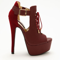 Lace Up Leatherette Bootie