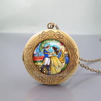 Beauty and the Beast Photo Locket Necklace,Flowers Rose,vintage pendant Locket Necklace