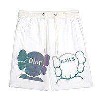 Dior x Kaws co-branded new bear letter logo print reflective fashion casual shorts white