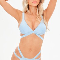 Missguided - Blue Cross Front Bikini Set