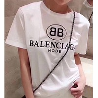 "Hot Sale ""Balenciaga"" Stylish Women Men Casual Letters Print Short Sleeve T-Shirt Top White I/A"