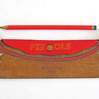 vintage leather canoe pencil case pouch souvenir