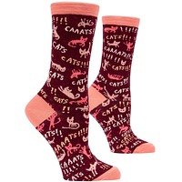 Cats! Women's Crew Socks, Hipster/Nerdy/Geeky/Trendy, Pink Red Funny Novelty Socks with Cool Design, Bold/Crazy/Unique Quirky Dress Socks