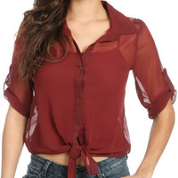 Chiffon Tie Front Lace Blouse   Shop Tops at Wet Seal