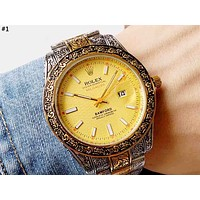 Rolex 2019 new carved men and women models wild simple quartz watch #1