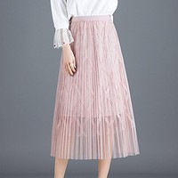 Fashion Mesh Women Long Skirt Elegant Spring Line Pearl High Waist Female Party Tulle Midi Pleated Skirt