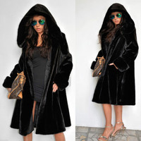 Roiii Women Winter Hood Parka Coat Vintage Long Faux Fur Jacket Plus Size 8-1420
