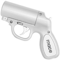 Mace Pepper Gun Silver, Sprays from any Angle up to 25`, Trigger Activated LED for Better Aim: Industrial & Scientific
