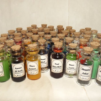 Collection of 100 miniature mini magic potions and potion ingredients small glass bottle with cork and vintage labels