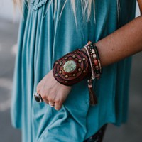 Aegean Boho Leather Cuff Bracelet - Lime