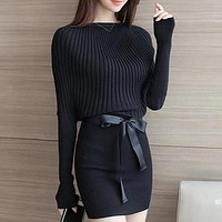Women's Fashion Knitted Dress Long Sleeve Sweater Batwing Pullover Pullover Sweeter Plus Size Dress