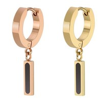 2 Pieces Rose Gold Huggie Earring Stainless Steel Earring Ear Clip Men boy girl Rock Cosplay Stud Earring