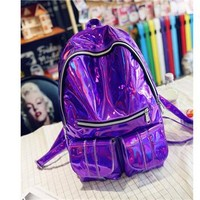 Cool Backpack school WONZOM New Fashion Unisex Men Women Backpacks Silver Gold Purple Laser Boys Girls School Shoulder Bags For Teenagers Cool AT_52_3